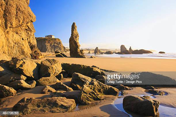 Rock Formations At Low Tide On Bandon Beach