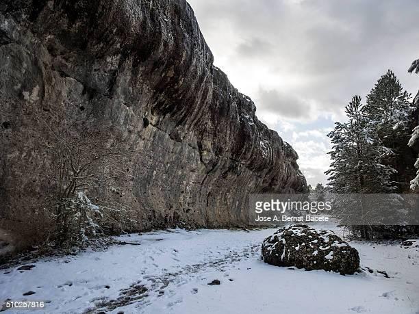 rock formations in a covered with snow forest. (ciudad encantada), delighted city, cuenca - ruina antigua fotografías e imágenes de stock
