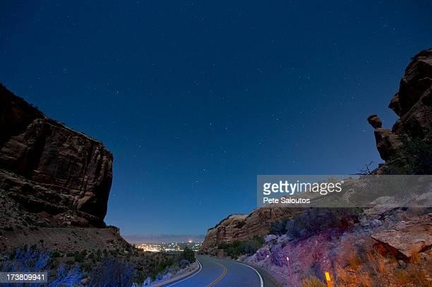 Rock formations in desert valley
