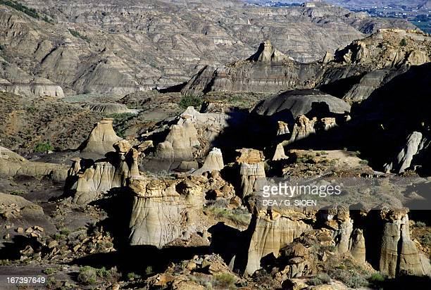 Rock formations in Makoshika State Park Glendive Montana United States