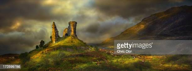 Rock formations in rural landscape, Kyleakin, Isle of Skye, Scotland
