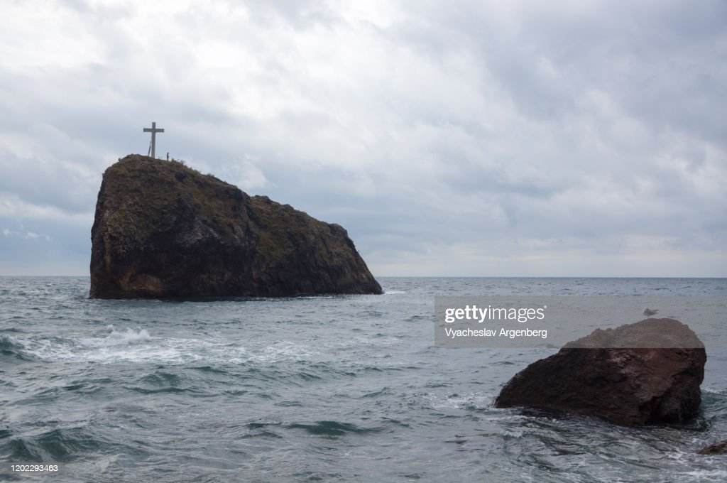 Rock formations in the sea, Cape Fiolent, Crimea : Stock Photo