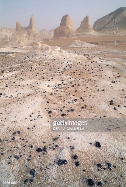 Rock formations in the White desert near the Farafra oasis Sahara desert Egypt