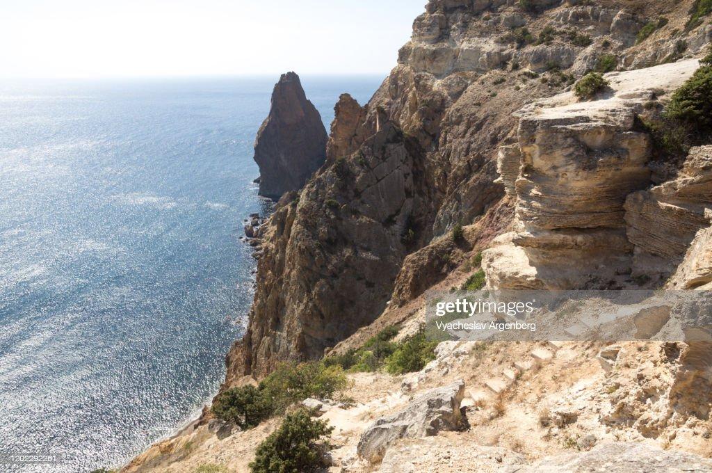 Rock formations of Cape Fiolent, Crimea : Stock Photo