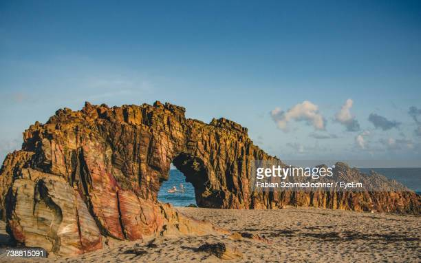 rock formations on beach against sky - maranhao state stock pictures, royalty-free photos & images
