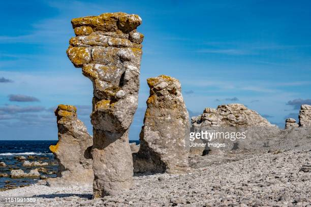 rock formations on beach - gotland stock pictures, royalty-free photos & images