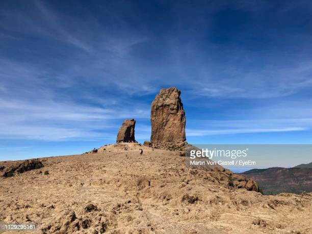 rock formations on landscape against sky - tejeda canary islands stock pictures, royalty-free photos & images