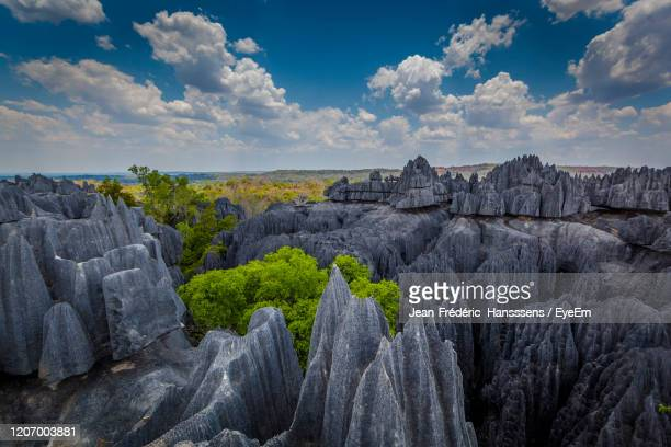 rock formations on landscape against sky - antananarivo stock pictures, royalty-free photos & images