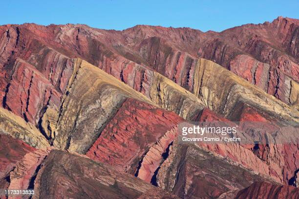rock formations on landscape - salta argentina stock photos and pictures