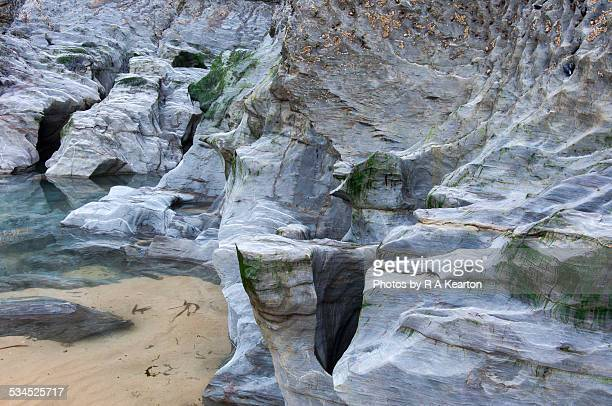 Rock formations on the beach at Bedruthan steps