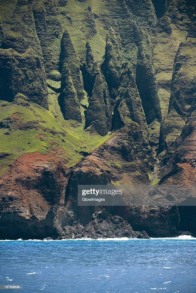 Rock formations on the coast, Na Pali Coast State Park, Kauai, Hawaii Islands, USA : Stock Photo