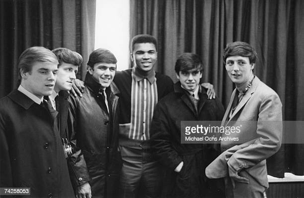 Rock group 'Dave Clark 5' pose for a portrait with Muhammad Ali aka Cassius Clay in circa 1964 Lenny Davidson Rick Huxley Dave Clark Cassius Clay...