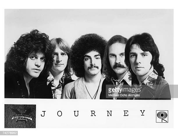 Rock group Journey lR Gregg Rolie Ross Valory Neal Schon George Tickner and Aynsley Dunbar pose for a CBS Photo circa 1975