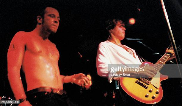 Rock group Mighty Joe Young LR Scott Weiland and Dean DeLeo perform at Club Blak and Bloo the night they signed to Atlantic Records in February 1992...