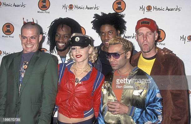Rock group No Doubt musician Adrian Young musician Stephen Bradley singer Gwen Stefani musician Gabrial McNair musician Tony Kanal and musician Tom...