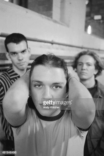 Rock group Placebo circa 1996 Left to right bassist Stefan Olsdal singer Brian Molko and drummer Robert Schultzberg