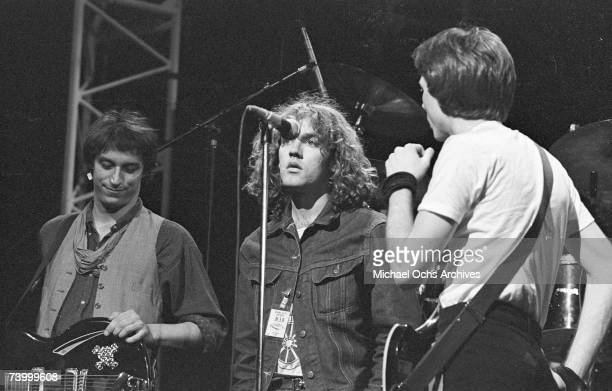 Rock group REM perform at the Hollywood Palace on June 19 1984 in Los Angeles California