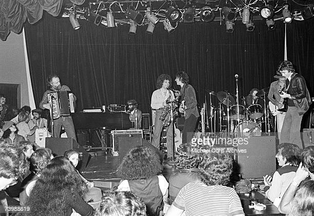 Rock group 'The Band' performs in a club in circa 1974 Garth Hudson Richard Manuel Rick Danko Robbie Robertson