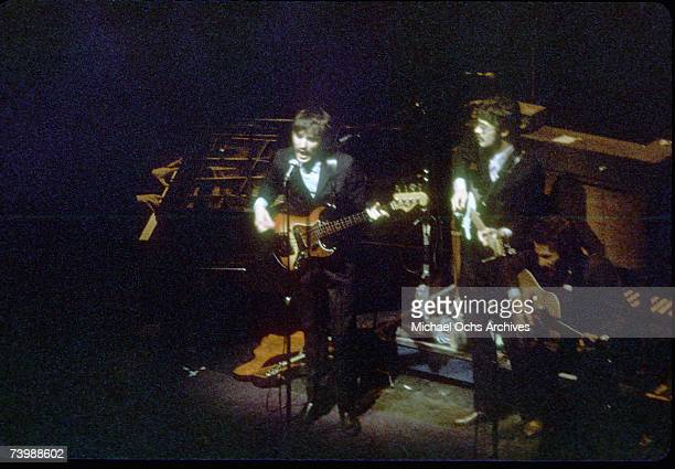 Rock group The Band performs onstage at the Fillmore East in circa 1972 in New York City New York Garth Hudson Rick Danko Levon Helm Robbie Robertson