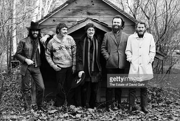 Rock group The Band pose for a portrait in December 1969 in Woodstock New York