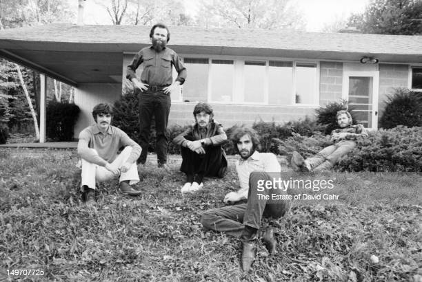 Rock group The Band pose for a portrait in October 1969 in Woodstock New York