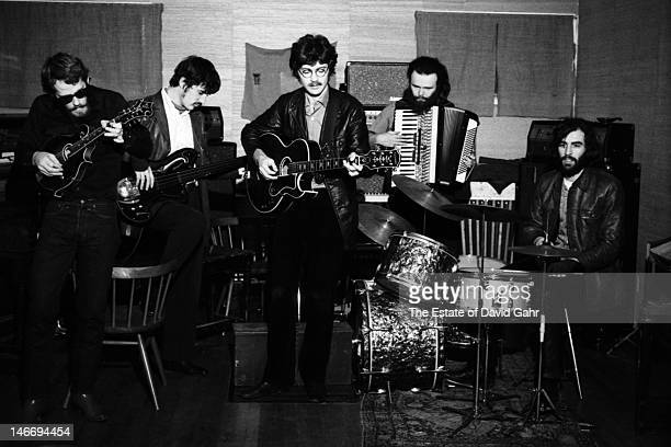 Rock group The Band rehearse in December 1969 in Woodstock New York