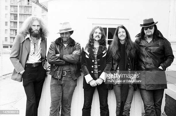 Rock group The Doobie Brothers pose for a portrait on April 12, 1973 in New York City, New York.