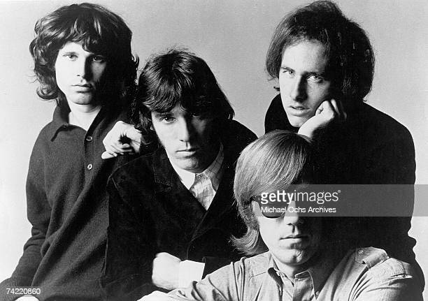 Rock group 'The Doors' pose for a promotional photos circa 1966 Left to right Jim Morrison Ray Manzarek Robbie Krieger and John Densmore