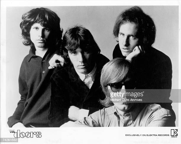 """Rock group """"The Doors"""" pose for a promotional photos circa 1966. Left to right - Jim Morrison, Ray Manzarek, Robbie Krieger and John Densmore."""