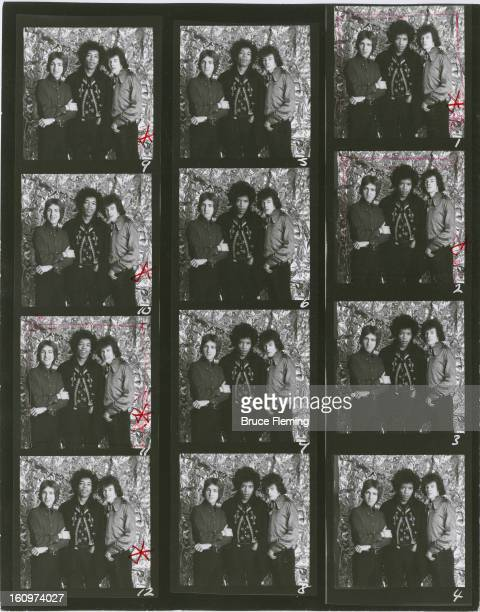 SHEET Rock group The Jimi Hendrix Experience pose for a studio portrait London Spring 1967 Left to right drummer Mitch Mitchell guitarist Jimi...