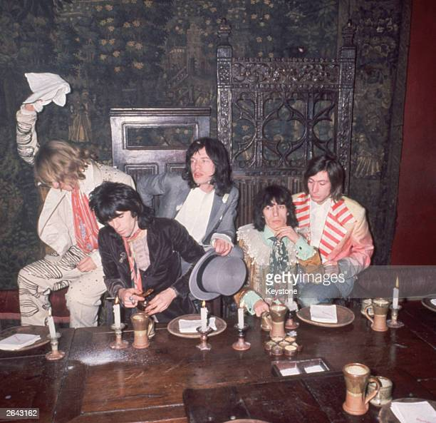 Rock group The Rolling Stones in the Elizabethan room at the Kensington Gore hotel where they hosted a banquet for the launch of their 'Beggars...