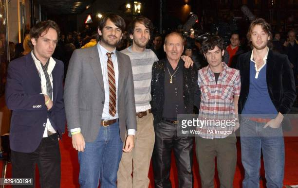 Rock group The Thrills with Elvis Presley's former guitarist James Burton arrive for the UK Music Hall Of Fame live final at the Hackney Empire in...