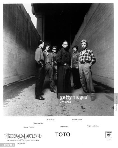 Rock group Toto pose for a portrait in October 1984 in Los Angeles California