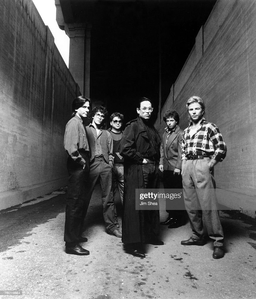 Rock group Toto (L-R Michael Porcaro, Steve Porcaro, David Paich, Jeff Porcaro, Steve Lukather and Fergie Frederiksen) pose for a portrait in October 1984 in Los Angeles, California.