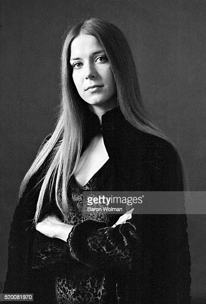 Rock groupie Raechel Donahue in a black cloak November 1968
