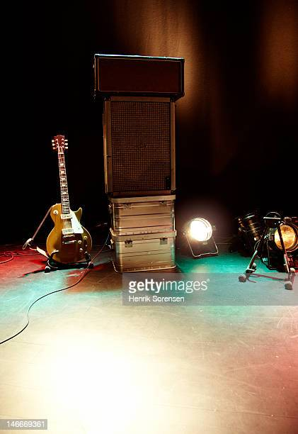 Rock guitar gear on stage