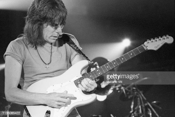 Rock guitarist Jeff Beck performing,Rome, Italy, 1990.
