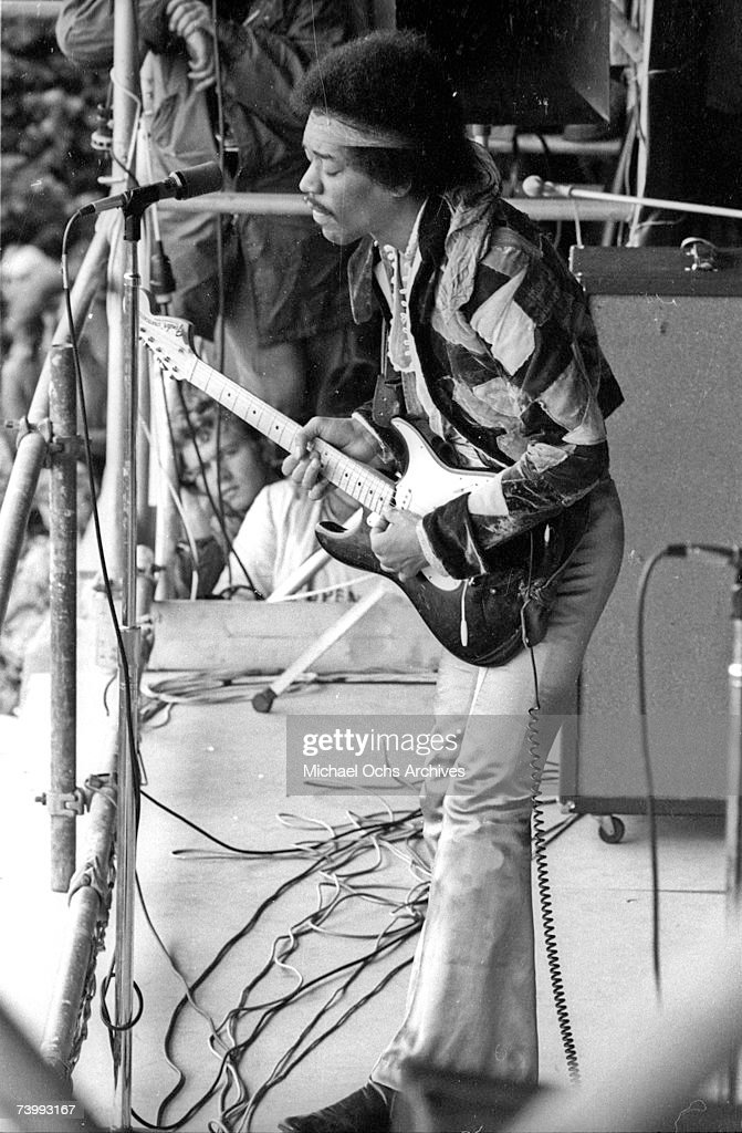 Rock guitarist Jimi Hendrix performs onstage with his Fender Stratocaster electric guitar at his last concert on September 6, 1970 in Isle of Fehmarn, Germany.