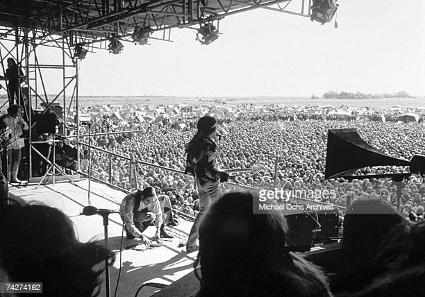 Rock guitarist Jimi Hendrix plays his Fender Stratocaster electric guitar at his last concert on September 6, 1970 in Isle of Fehmarn, Germany.