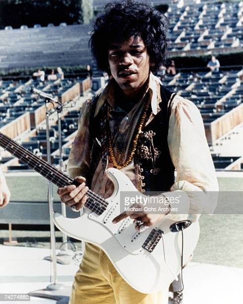 Rock guitarist Jimi Hendrix plays his Fender Stratocaster electric guitar onstage during soundcheck for his performance at the Hollywood Bowl on...