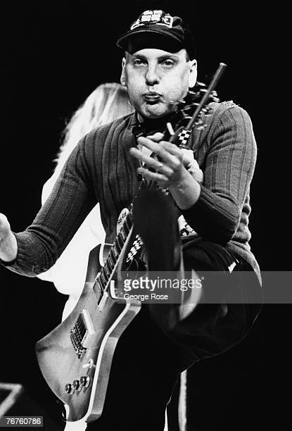 Rock guitarist Rick Nielsen of Cheap Trick displays several facial expressions during a 1981 Los Angeles California performance at the Sports Arena