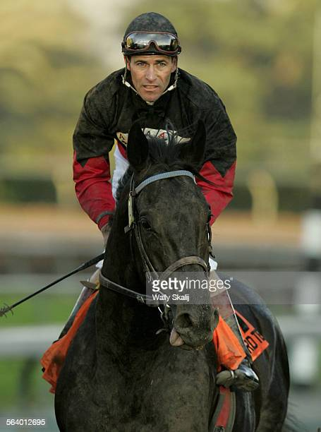 Rock Hard Ten with jockey Gary Stevens beat Imperialism with Jockey Alex Solis by a nose in the Strub Stakes at Santa Anita Saturday