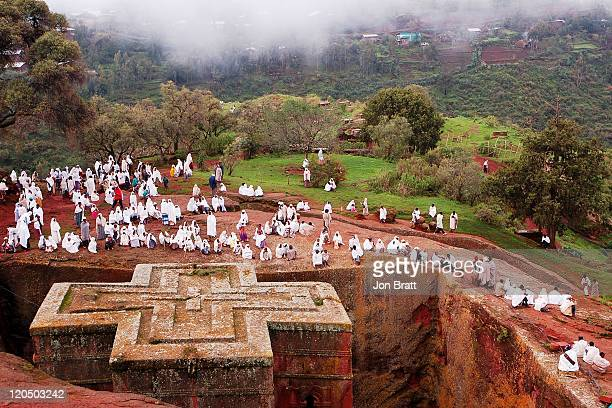 rock hewn church of st. george - ethiopia stock photos and pictures