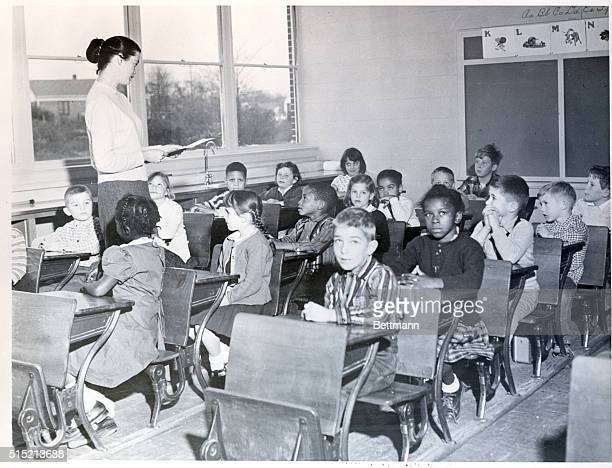 Rock Hill, SC - Scene at St. Anne Parochial School, the only integrated school in South Carolina. Joyce Dunne, of Boston, is the teacher in the...