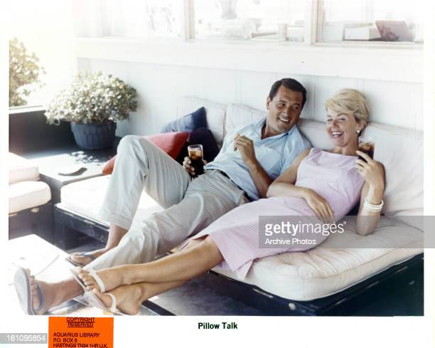 Rock Hudson and Doris Day relax on set of the film 'Pillow Talk' 1959