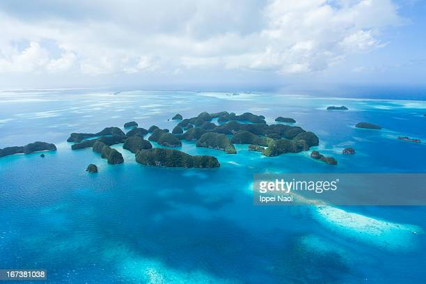 Rock islands and tropical water from above