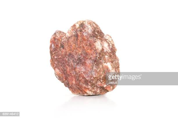 Rock mineral macro photo with white background