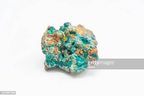 rock mineral macro photo with white background - 孔雀石 ストックフォトと画像