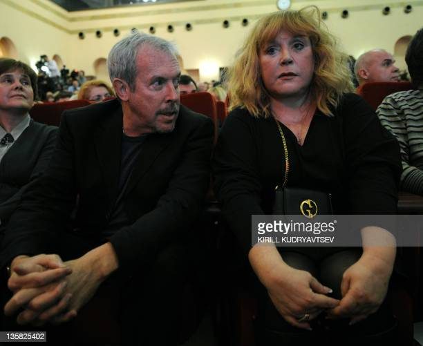 Rock musician Andrey Makarevich and singer Alla Pugacheva attend a meeting of Russian billionaire Mikhail Prokhorov with his supporters in Moscow on...