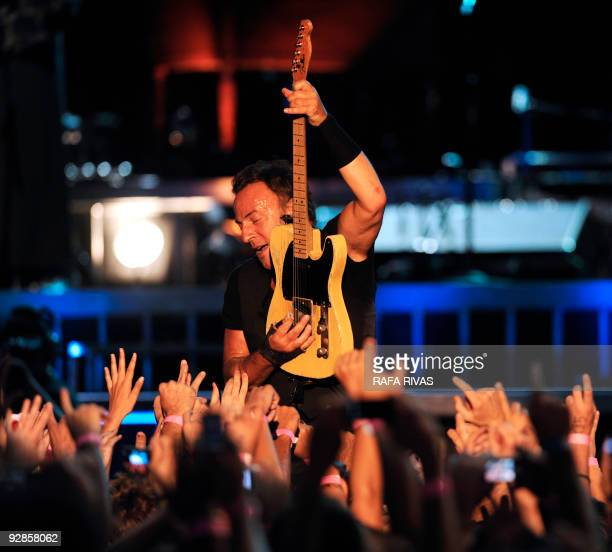 US rock musician Bruce Springsteen performs at the San Mames stadium on July 26 in the northern Spanish Basque city of Bilbao during his first...